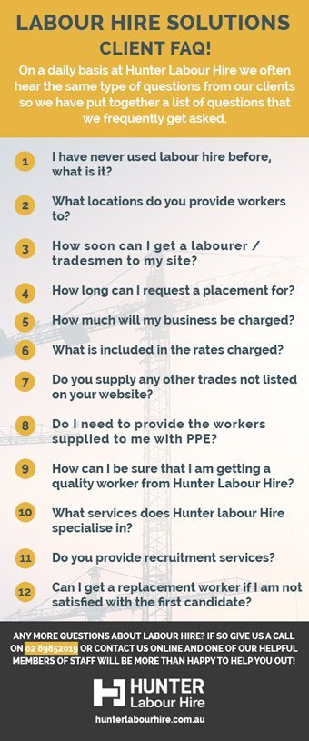 Labour Hire FAQ for Clients - Hunter Labour Hire Sydney