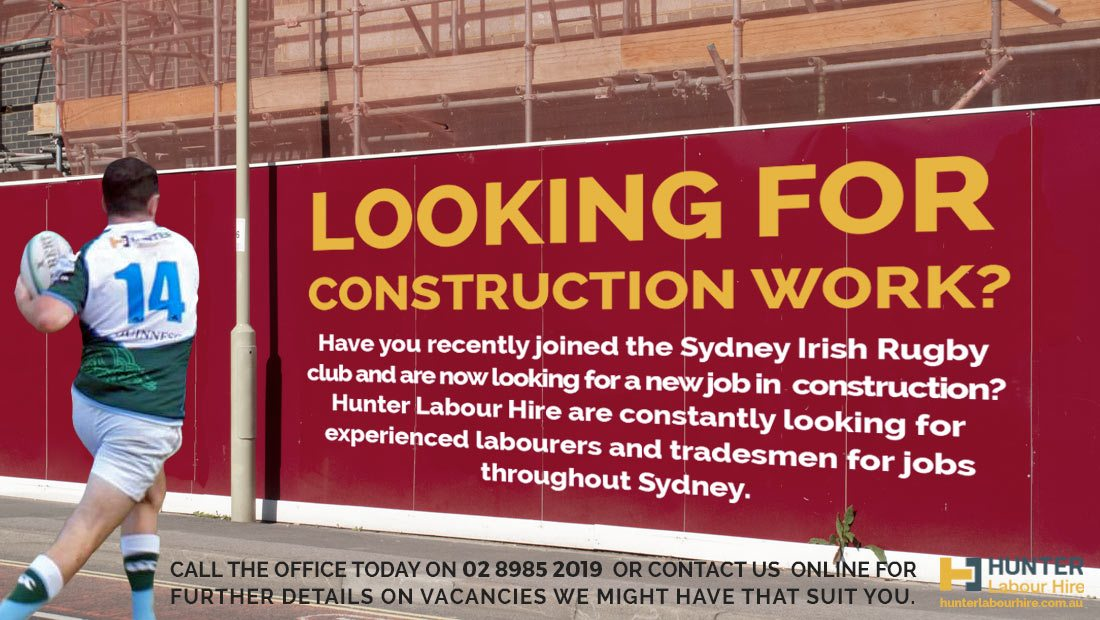 Construction Jobs in Sydney - Sydney Irish Rugby Club