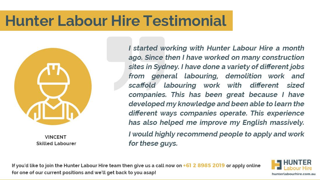 Hunter Labour Hire Testimonial from Skilled Labourer