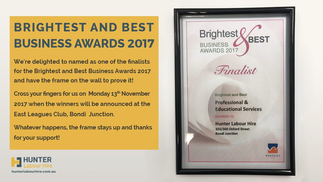 Brightest And Best Business Awards 2017 - Hunter Labour Hire