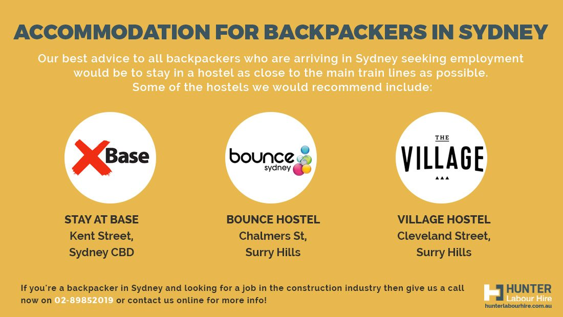Accommodation for Backpackers in Sydney - Hunter Labour Hire