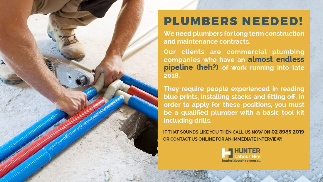 Jobs for Plumbers in Sydney - Hunter Labour Hire