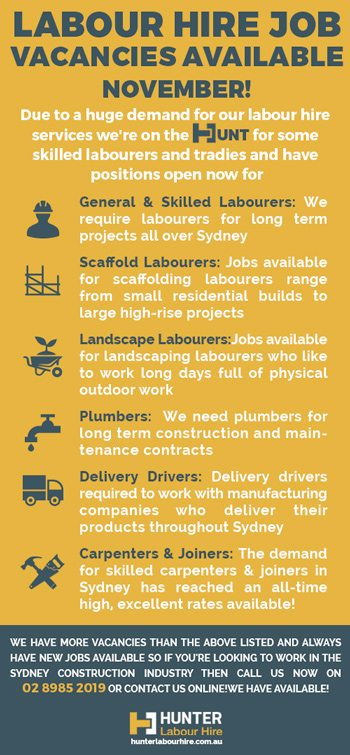 Labour Hire Job Vacancies November - Hunter Labour Hire Sydney