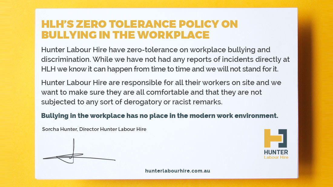 HLH Zero Tolerance Policy on Workplace Bullying