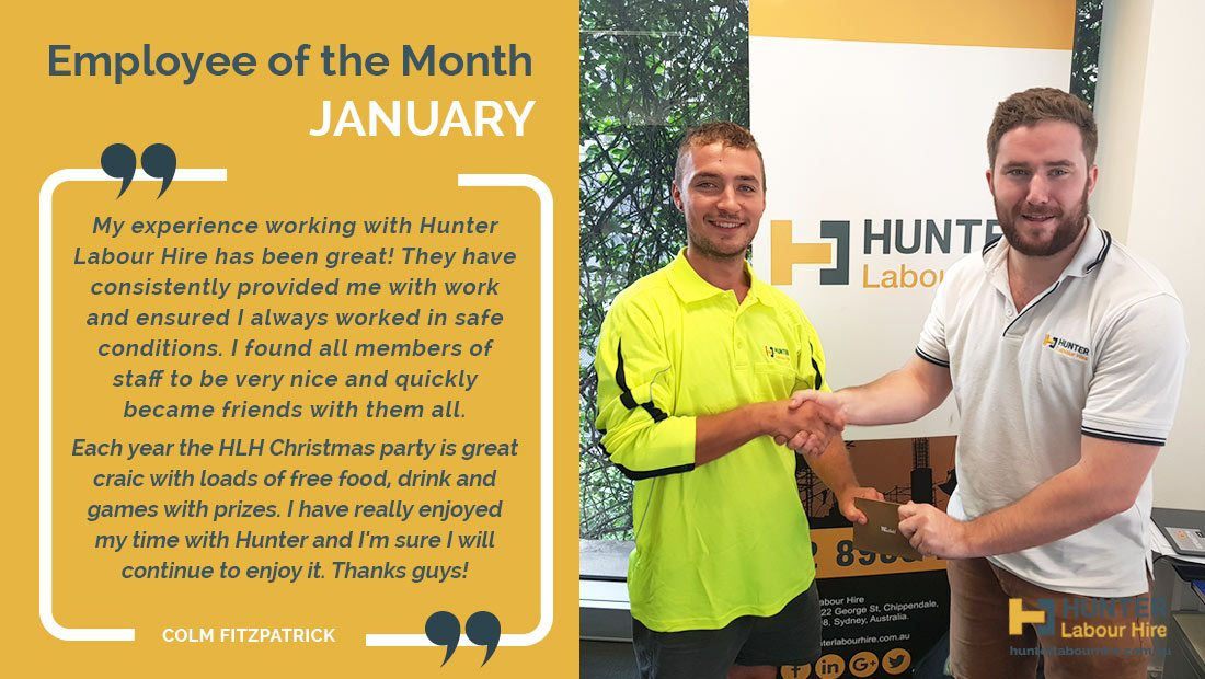 Hunter Labour Hire Employee of the Month - January - Colm Fitzpatrick