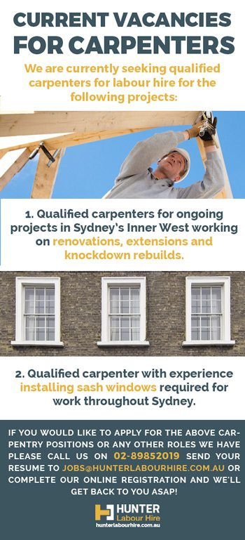 Vacancies for Carpenters in Sydney - Hunter Labour Hire