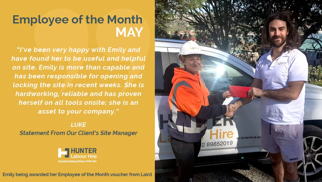 Emily Rossi - Hunter Labour Hire Employee of the Month May