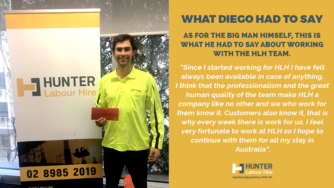 Diego Bravo - Hunter Labour Hire - Employee of the Month August