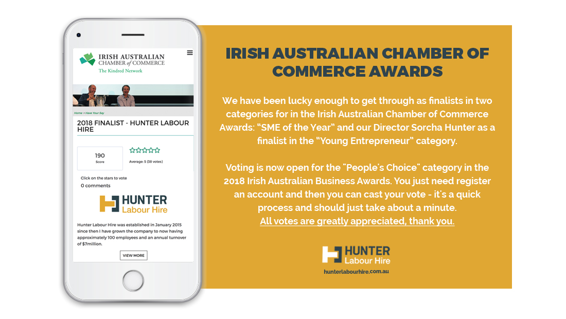 Irish Australian Chamber of Commerce Awards - Hunter Labour Hire