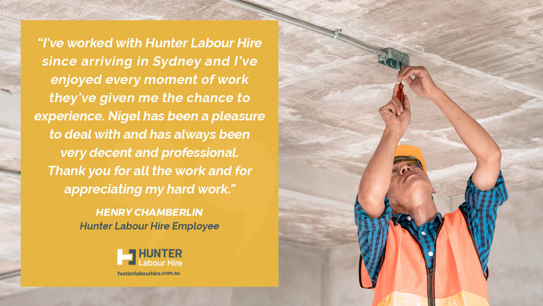 Employee of the Month - October - Henry Chamberlin - Hunter Labour Hire