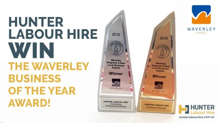Hunter Labour Hire Win the Waverley Business of the Year Award 2018
