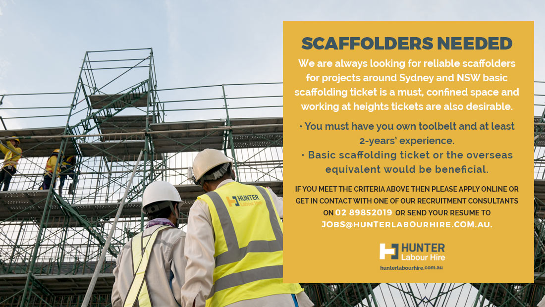 Summer Scaffolding Jobs in Sydney - Hunter Labour Hire