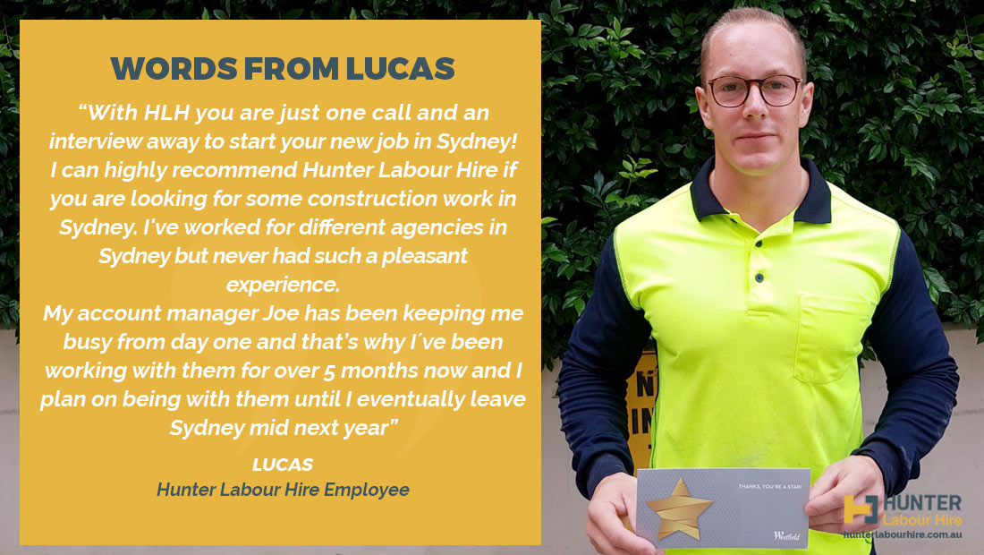 Hunter Labour Hire Testimonial - Lucas Kanapin