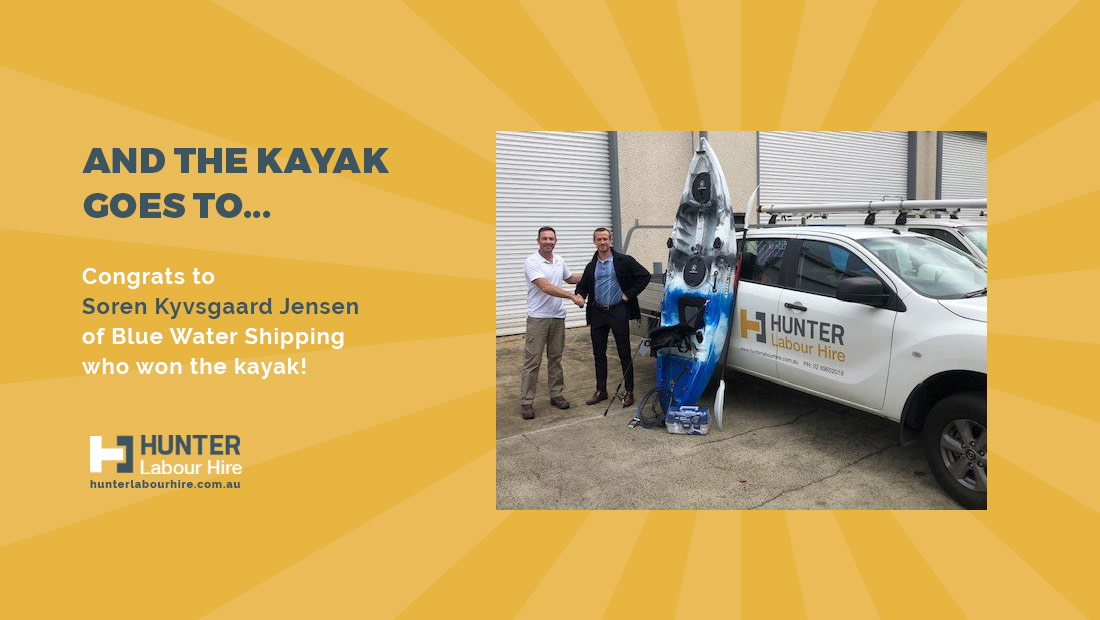 Soren Kyvsgaard Jensen of Blue Water Shipping - Hunter Labour Hire Kayak Winner - Sydney Build Expo 2019