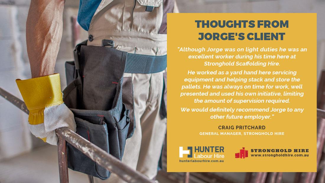 Jorge Britos Guerra Client Testimonial - Hunter Labour Hire Sydney