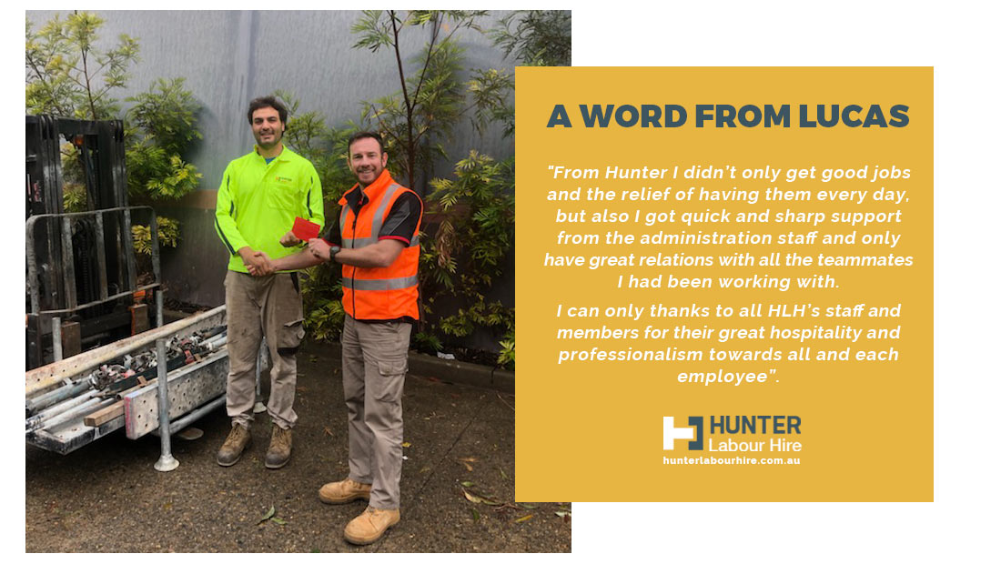 Lucas Ponce - Hunter Labour Hire Sydney Employee of the Month May