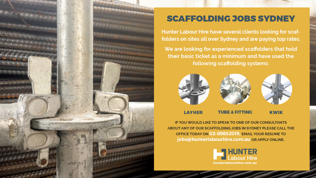Scaffolding Jobs Sydney - Available now for Tickteted Scaffolders