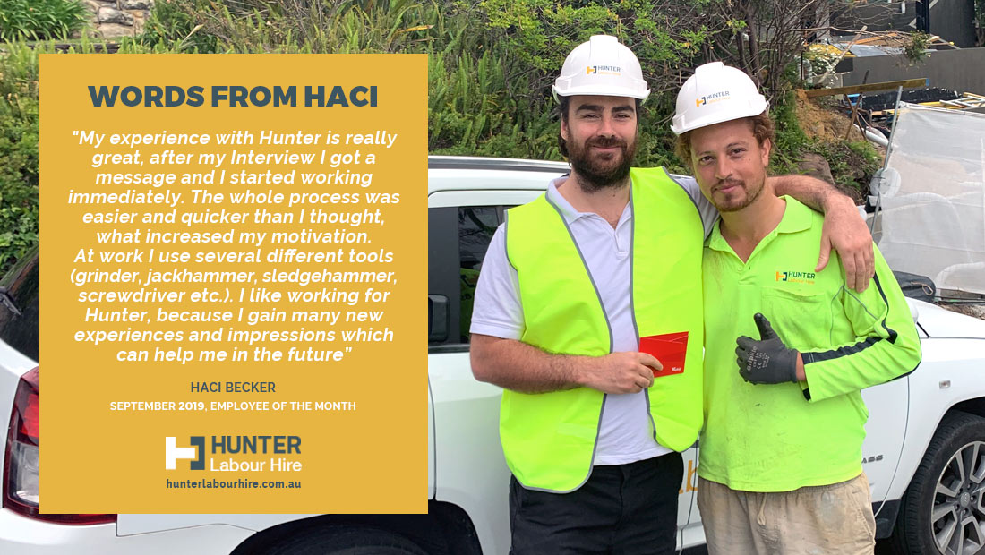 Employee of the Month - Haci Becker - September 2019 - Hunter Labour Hire