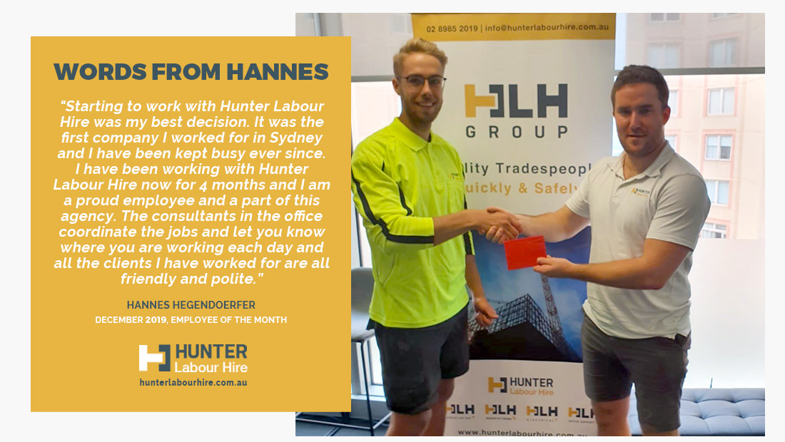 Employee of the Month - December 19 Hannes Hegendoerfer - Hunter Labour Hire Sydney