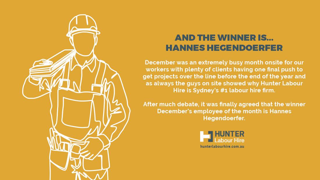 Hannes Hegendoerfer - Employee of the Month - December 2019 - Hunter Labour Hire - Sydney