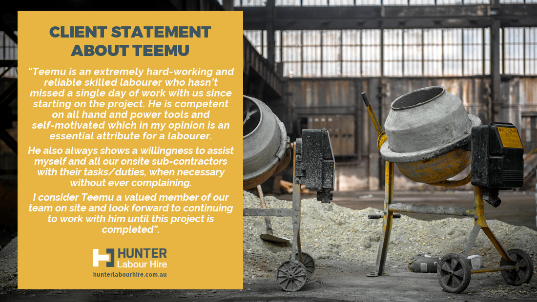 Employee of the Month - March 2020 Client - Hunter Labour Hire