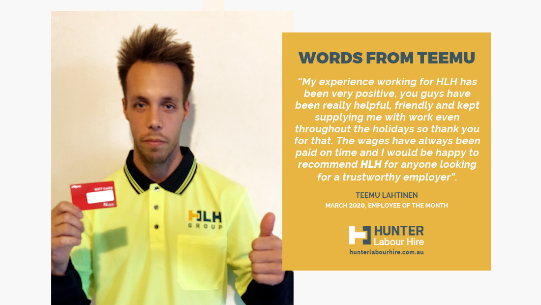 Employee of the Month - March 2020 Testimonial Teemu Lahtinen - Hunter Labour Hire