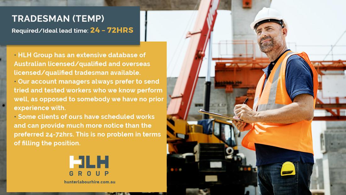 Tradesman Labour Hire Lead Time - HLH Group - Labour Hire Sydney