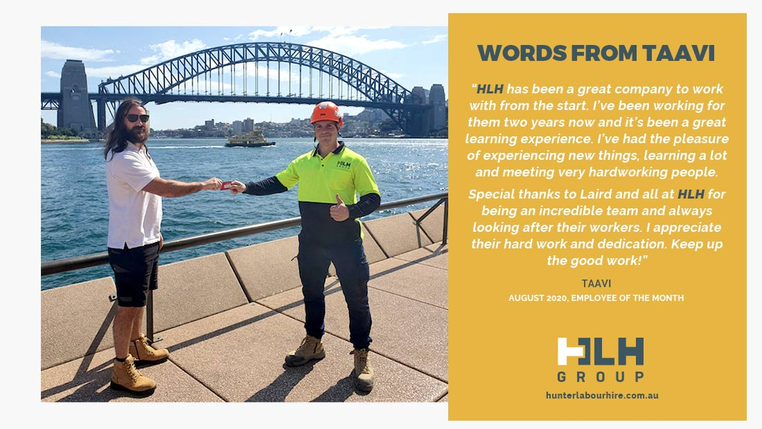 Labour Hire HLH Group - Employee of the Month Taavi- August