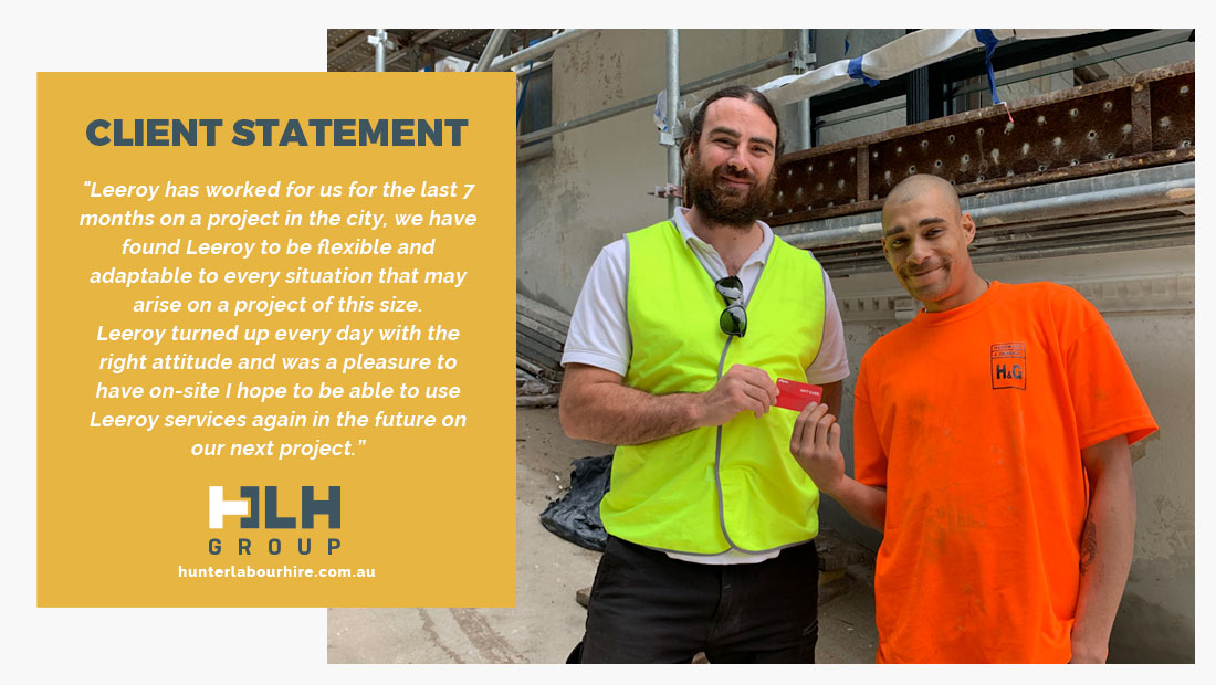 Leeroy Amor - Employee of the Month - Labour Hire 2020 - HLH Group Sydney