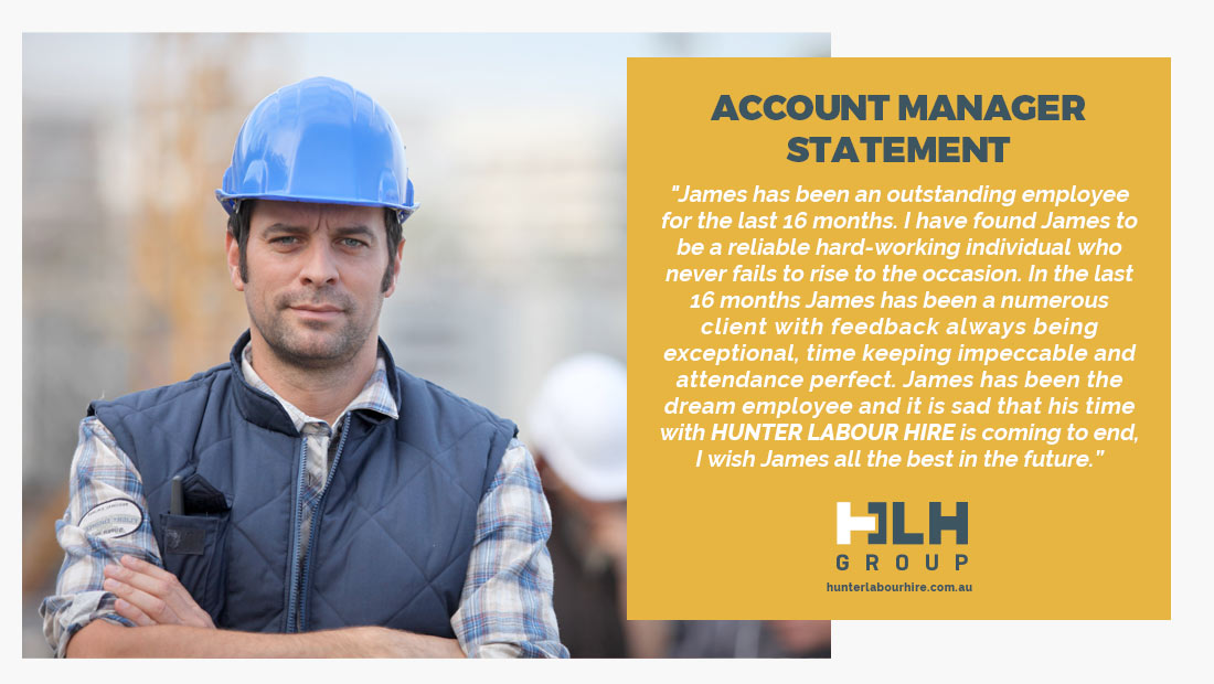 Employee of the Month - December 2020 - Account Manager Statement Hunter Labour Hire Sydney