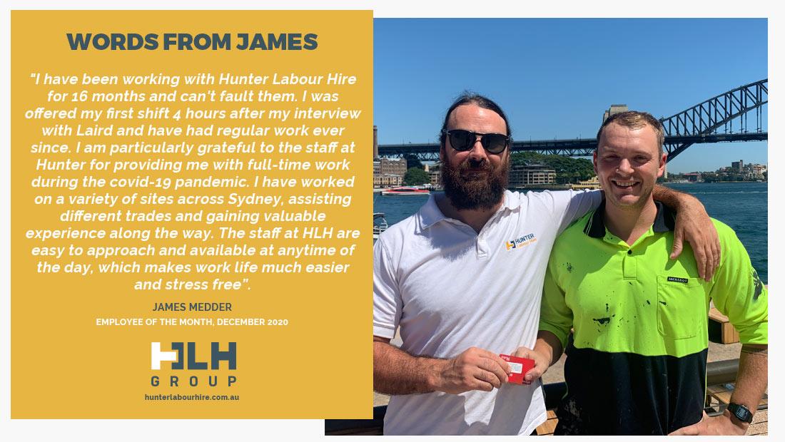 Employee of the Month - December 2020 - James Medder - HLH Group
