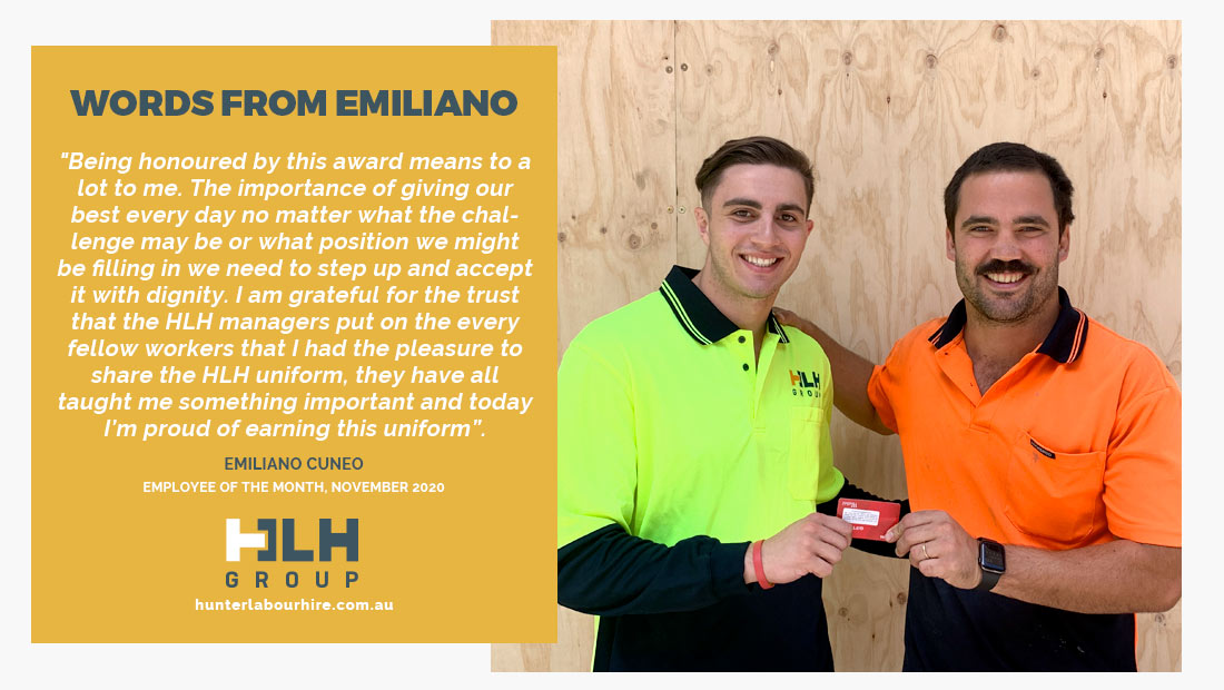 Employee of the Month - Emiliano Cuneo - HLH Group Sydney