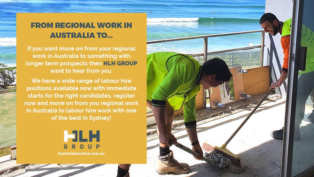 Job after Regional Work Australia - Longer Term Job Sydney HLH Group