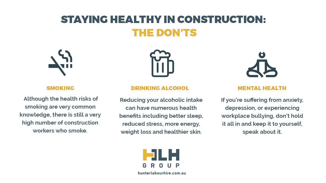Staying Healthy Construction - Donts - Labour Hire Sydney